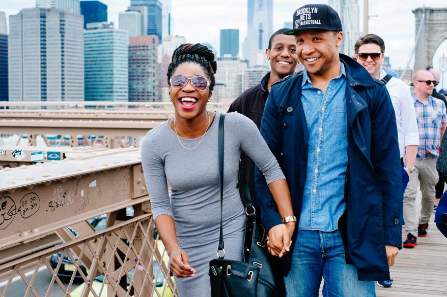 People on Brooklyn Bridge
