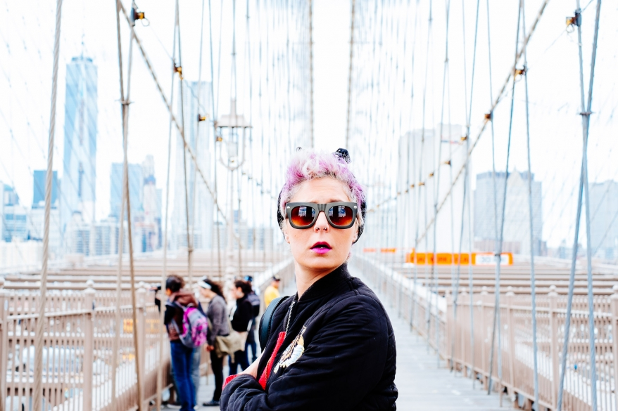 Woman on Brooklyn Bridge