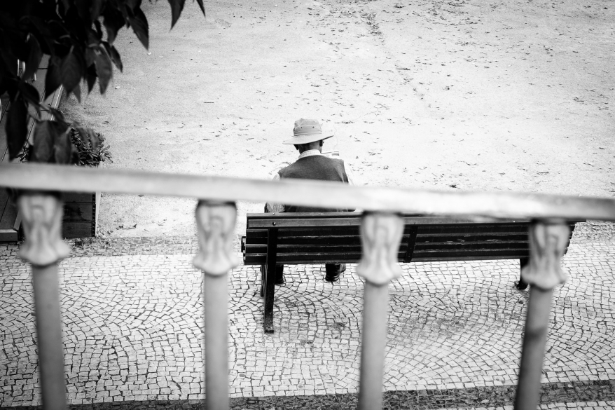 Man on bench, Lisbon